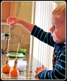 Fruit Loops and Play Dough fine motor practice