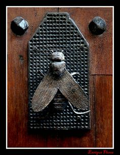 Bee door knocker (or bee iron on waffle topped ironing board.)