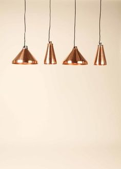 Josie Morris - New Designers 2013 exhibition - copper pendant lights