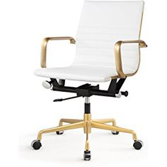 MEELANO 348-GD-WHI Office Chair in Vegan Leather, Gold/White