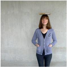 Custom monogram cardigan - boyfriend sweater - MENS/UNISEX XS-L - hand printed initial on heather gray jersey cardigans - monogram gift