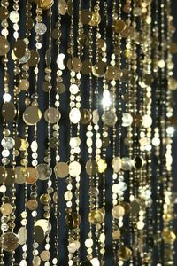 Light Gold Backdrop, Beaded Curtain Light Gold Circles, Soft Gold Event Decoration