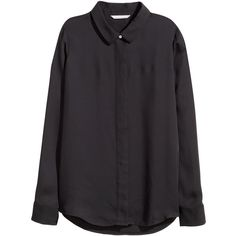 H&M Long-sleeved blouse (1.490 RUB) ❤ liked on Polyvore featuring tops, blouses, black, h&m tops, long sleeve blouse, h&m, black top and collar blouse