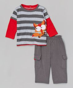 This Nûby Gray & Red Fox Tee & Pants - Infant by Nûby is perfect! #zulilyfinds