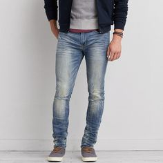 AEO Super Skinny Active Flex Jeans (65 CAD) ❤ liked on Polyvore featuring men's fashion, men's clothing, men's jeans, destroyed light wash, jeans, mens waxed denim skinny jeans, mens distressed jeans, mens denim jeans, mens low rise jeans and mens destroyed jeans