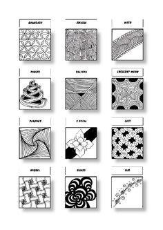 Zentangle Pattern Sheet 8 Patterns: Quandary, Swarm, Meer, Punzel, Balloya, Crescent Moon, Paradox, X Petal, Lacy, Wirbel, Bunzo, Ojo