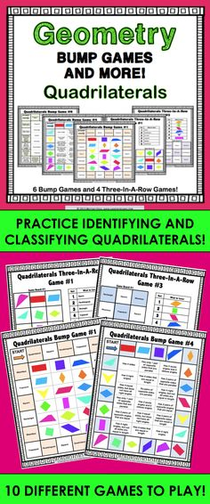 Quadrilaterals Bump Games and More! contains 10 different games (6 bump games and 4 three-in-a-row games) to help students practice identifying and classifying quadrilaterals. Within these quadrilaterals games, students practice matching the names of different types of quadrilaterals to images and to specific characteristics.  Covers trapezoids, parallelograms, rectangles, rhombuses, and squares!