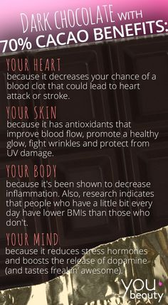 The Health   Beauty Benefits of Dark Chocolate (Infographic)
