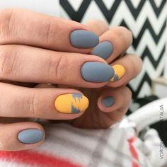 32 Gorgeous Looks for Matte Short Nails; matte nails for fall;easy designs for short nails. Orange Nail Designs, Nail Art Designs, Nails Design, Grey Matte Nails, Manicure Y Pedicure, Orange Nails, Yellow Nail, Super Nails, Nagel Gel