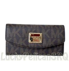 MICHAEL KORS MK Signature PVC Slim Flap Brown Gold Wallet Clutch NWT