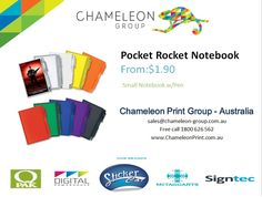 Pocket Rocket Notebook - Chameleon Print Group  http://chameleonprint.com.au/product/pocket-rocket-notebook/
