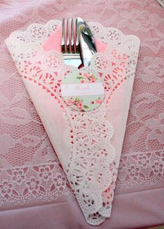 Paper doily napkin holder for a tea party