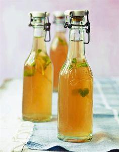 De fleste typer ingefær har et hint af citron i smagen, og det pepper den aromatiske og let bitre ingefærsmag dejligt op. Med lidt frisk mynte og lidt sukker bliver der en skøn balance mellem det søde, bitre og friske i denne iste, som lige skal stå på køl natten over for at få den