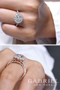 14k White/Rose Gold Round Double Halo Diamond Engagement Ring