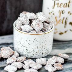 The Best Puppy Chow Recipe EVER! Only 4 ingredients and a few minutes will result in an irresistible dessert! Gluten-free, dairy-free, and vegan!