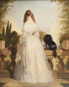 Sir Edwin Landseer, 1839. Attrib. à  PORTRAIT DE LA DUCHESSE DE NEMOURS née Victoire de Saxe-Cobourg et Gotha (1822-1857) Debout et de dos, admirant un paysage d'eau et de verdure depuis la balustrade d'une terrasse, vêtue d'une robe blanche, aux côtés d'un petit épagneul noir vu de dos lui-aussi. Huile sur toile Ht. 45 x L. 35,5 cm