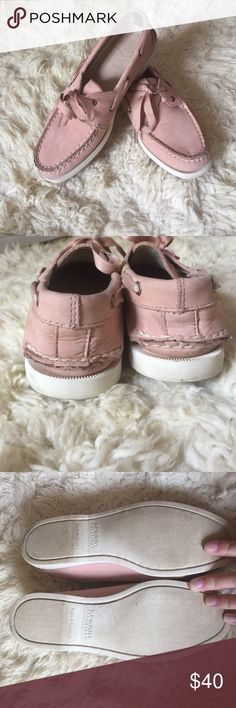 Light Pink Suede with Ribbon Tie Topsiders Sorry Topsiders for J Crew Light Pink Suede Topsiders with ribbon tie. Great condition. Only worn a handful of times. Sperry Top-Sider Shoes