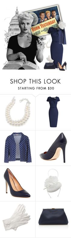 """1950's Movie - Born Yesterday"" by gracekathryn ❤ liked on Polyvore featuring Carolee, P.A.R.O.S.H., Halston, Halston Heritage, Aspinal of London, Mansur Gavriel, Tara, movie, hollywood and judyholliday"