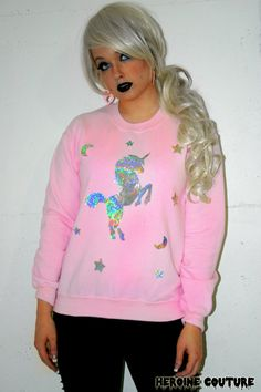 Custom Color Holographic or Foil Unicorn Dreams Sweatshirt via Etsy
