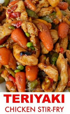 Teriyaki Chicken Stir-Fry is a quick, easy and perfect last minute dinner. Very versatile as vegetables and meat can be substituted to your preference. Wok Recipes, Asian Recipes, Dinner Recipes, Cooking Recipes, Healthy Recipes, Stir Fry Recipes, Teriyaki Chicken, Teriyaki Stir Fry, Chicken Teryaki Stir Fry