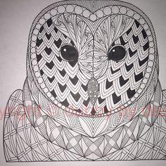 Barn Owl template from Ornation Creation #dubbybydesign #zentangle #zentangleinspiredart #benkwok #ornationcreation #inkdrawing #zendoodle #doodle