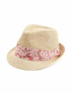 Floral Band Straw Fedora: Charlotte Russe