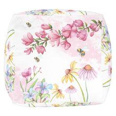 "Watercolor Floral Garden Scene  Pouf (18""x18""x18"") Cube Pouf"