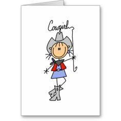 Lasso Cowgirl T-shirts and Gifts Greeting Cards