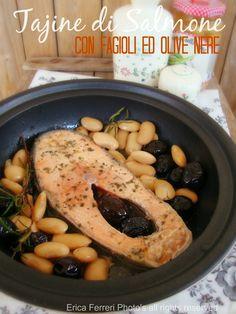 Tajine of salmon with beans and olives - Tajine di salmone con fagioli ed olive