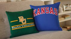 How to make sports-jersey pillows. Great idea for the grad. Could take the college of their choice and make a pillow. Great easy instructions.