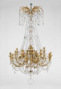 Fifteen-light chandelier  Date:     ca. 1790 Culture:     French Medium:     Gilt bronze, Bohemian glass