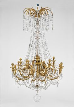 Fifteen-light chandelier  Date:     ca. 1790 Culture:     French Medium:     Gilt bronze, Bohemian glass