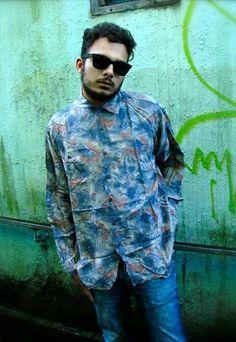 Vintage Patterned Silk Shirt Size - L Vintage Men, Vintage Clothing, Vintage Outfits, Printed Shirts, Menswear, Silk, Denim, Clothes, Outfits