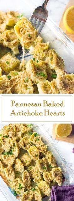 Parmesan Baked Artichoke Hearts recipe - Party Appetizer via @foxvalleyfoodie