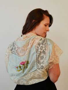 Blue Silk and Lace Shrug Bridal Shrug Embroidered by MiriTextiles