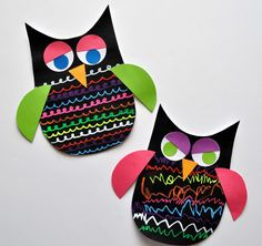 Colorful Chalk Marker Owls