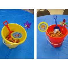 Bubble guppies party pails cute idea- need to buy these now since they're super cheap!