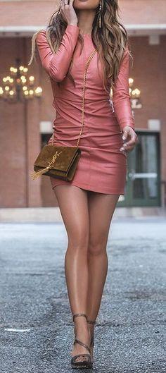 Missguided Leather Mini Dress & Asymmetric Snake Sandals