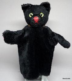 Steiff Black #TomCat Hand #Puppet Mohair Plush 1960s Green Glass Eyes Vintage #Steiff AllOccasion