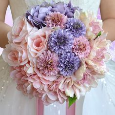 Assorted Florals Silk Flowers Wedding Bridal Bouquet