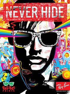 Ray-Ban Ad from the NEVER HIDE series. to find out more about these amazing sung. - Ray-Ban Ad from the NEVER HIDE series. to find out more about these amazing sung headphone ilustrat - Pop Art, Andy Warhol, Moncler, Banned Ads, Ray Ban Sunglasses Sale, Sunglasses Outlet, Sunglasses 2016, Wayfarer Sunglasses, Cheap Sunglasses