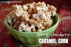 Fun Popcorn Recipes; Cinnamon Popcorn, Salty-Sweet popcorn, Bacon Popcorn, Peanut-butter popcorn, Caramel, Chocolate-caramel, Peppermint Bark, S'mores, Goose Crunch & White Chocolate Caramel Popcorn!