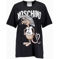 Moschino Rat-A-Porter Oversized T-Shirt Black (1.465 NOK) ❤ liked on Polyvore featuring tops, t-shirts, oversized tee, moschino top, moschino tee, oversized tops and moschino