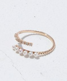 【cheravir】Many pearls & Diamond Line Ring