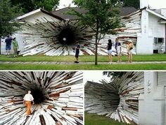 'Inversion', Tunnel House Art Installation by Dan Havel and Dean Ruck. Using boards from the outside of the houses they created a large funnel-like vortex running between the two that ends in a small hole in an adjacent courtyard. Land Art, Les Deux Sevres, Instalation Art, Artistic Installation, Amazing Buildings, Art Moderne, Banksy, Funny Art, Public Art