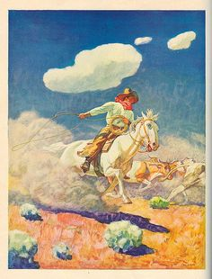 """The Cowboy's Life"" - Painting by N.C. Wyeth, from: ""The World of Music: Adventure."" Ginn and Co., 1938."