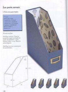 Crafts made of cardboard Le cartonnage techniques et réalisations Diy Storage Boxes, Craft Storage, Diy Magazine Holder, Fabric Crafts, Paper Crafts, Fabric Covered Boxes, Cardboard Box Crafts, Diy Papier, Diy Box