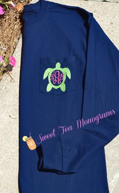 Turtle Monogram Long Sleeve Pocket T-shirt