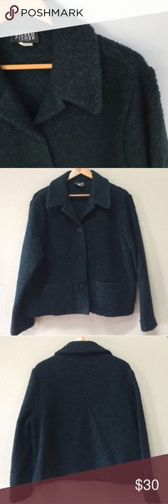 """Eileen Fisher blazer jacket Eileen Fisher wool blend blazer. Size large. Approximate length from shoulder is 23.5"""" and approximate chest measurement is 24"""". The color is a very dark turquoise, or a grayish blue/green. It is in previously worn condition, no holes or stains. Becauseof the texture in the jacket there is a little bit of a fuzzy appearance due to general wear, nothing major. Eileen Fisher Jackets & Coats Blazers"""