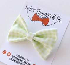 Gingham Bow Tie Green and White Gingham Bow by AddiBugDesigns01